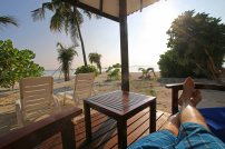 Beach-Bungalow auf Meedhupparu. Foto: Oliver Heider