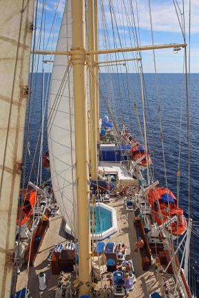 Der Ausblick vom Mast auf der Star Flyer. Foto: Oliver Heider