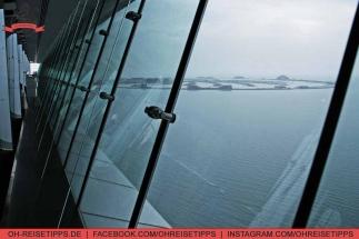 """Toller Ausbliuck von der Skyview Bar des Luxus-Hotels Burj Al Arab in Dubai auf """"The Palm Jumeirah"""". Foto: Oliver Heider"""