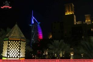 Blick auf das Hotel Burj Al Arab vom Souk Madinat Jumeirah in Dubai. Foto: Oliver Heider