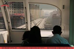 """Rückfahrt mit der Mono Rail auf """"The Palm Jumeirah"""" in Dubai. Foto: Oliver Heider"""