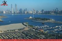 Ausblick vom Colombia Coffee House in der Marina Mall auf die Skyline von Abu Dhabi. Foto: Oliver Heider