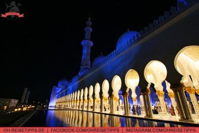 Die Sheikh-Zayed-Moschee in Abu Dhabi bei Nacht. Foto: Oliver Heider