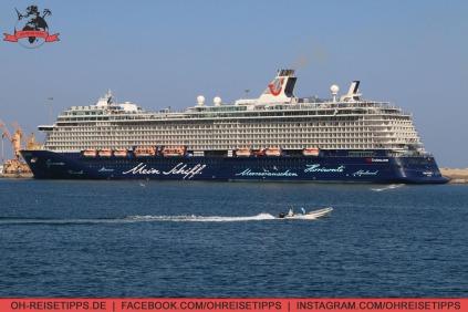Die Mein Schiff 3 im Hafen von Muscat. Foto: Oliver Heider